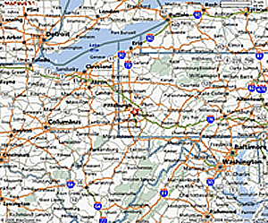 Map Of Ohio And Pennsylvania http://www.acrental.com/service_areas.html